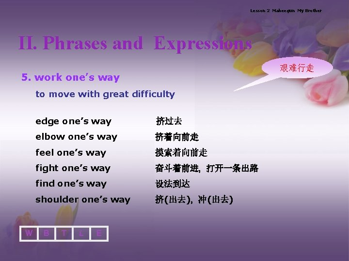 Lesson 2 Maheegun My Brother II. Phrases and Expressions 艰难行走 5. work one's way