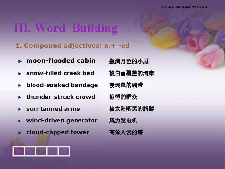 Lesson 2 Maheegun My Brother III. Word Building 1. Compound adjectives: n. + -ed