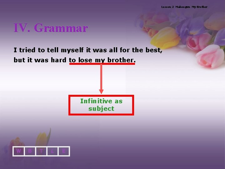 Lesson 2 Maheegun My Brother IV. Grammar I tried to tell myself it was