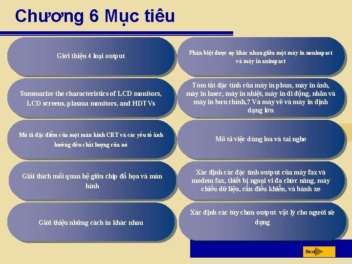Chương 6 Mục tiêu Giới thiệu 4 loại output Phân biệt được sự khác