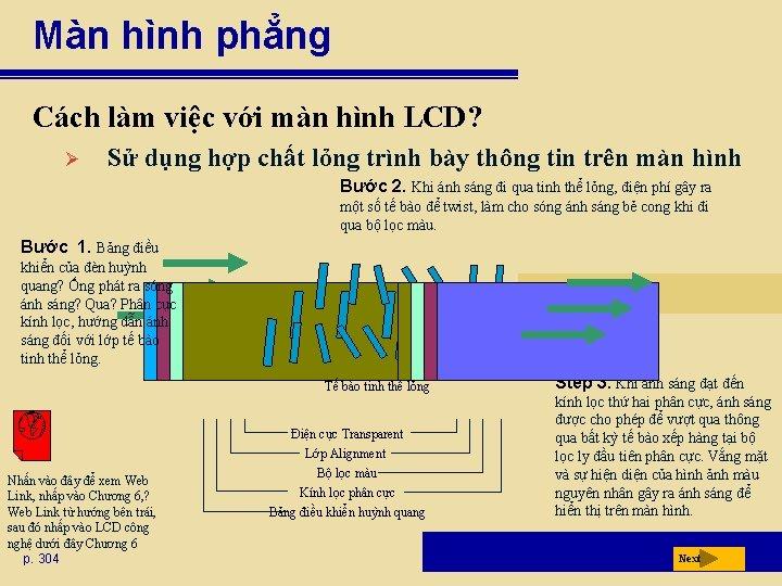 Màn hình phẳng Cách làm việc với màn hình LCD? Ø Sử dụng hợp