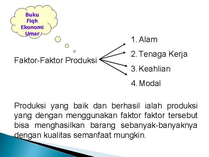 Buku Fiqh Ekonomi Umar Faktor-Faktor Produksi 1. Alam 2. Tenaga Kerja 3. Keahlian 4.