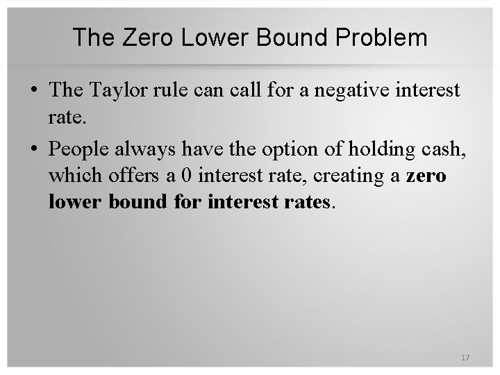 The Zero Lower Bound Problem • The Taylor rule can call for a negative