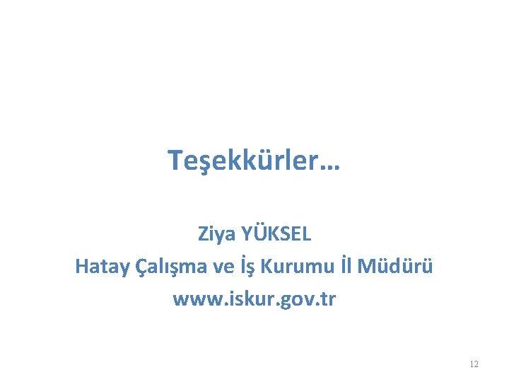 Teşekkürler… Ziya YÜKSEL Hatay Çalışma ve İş Kurumu İl Müdürü www. iskur. gov. tr