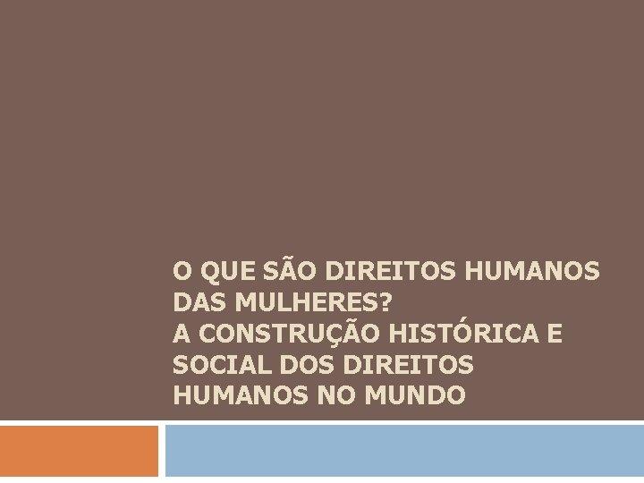 O QUE SÃO DIREITOS HUMANOS DAS MULHERES? A CONSTRUÇÃO HISTÓRICA E SOCIAL DOS DIREITOS