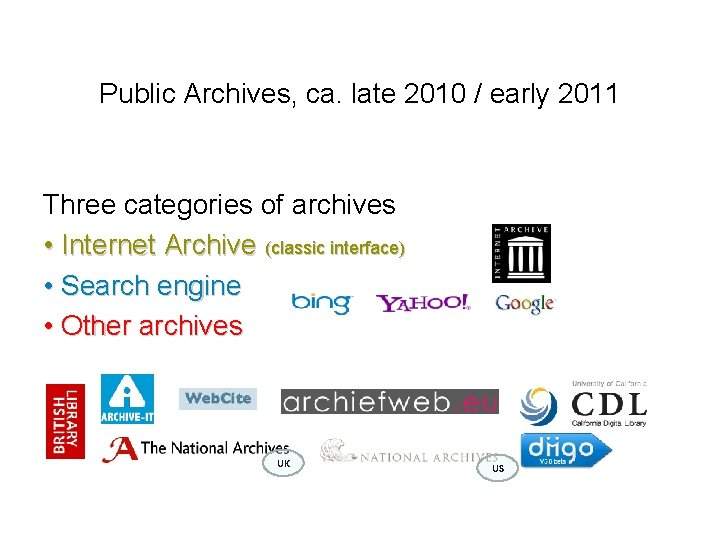 Public Archives, ca. late 2010 / early 2011 Three categories of archives • Internet