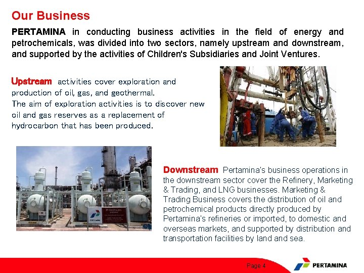 Our Business PERTAMINA in conducting business activities in the field of energy and petrochemicals,
