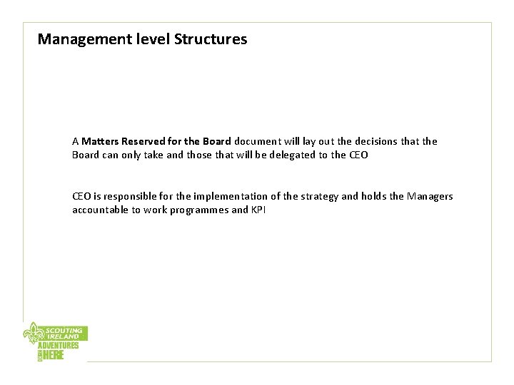 Management level Structures A Matters Reserved for the Board document will lay out the