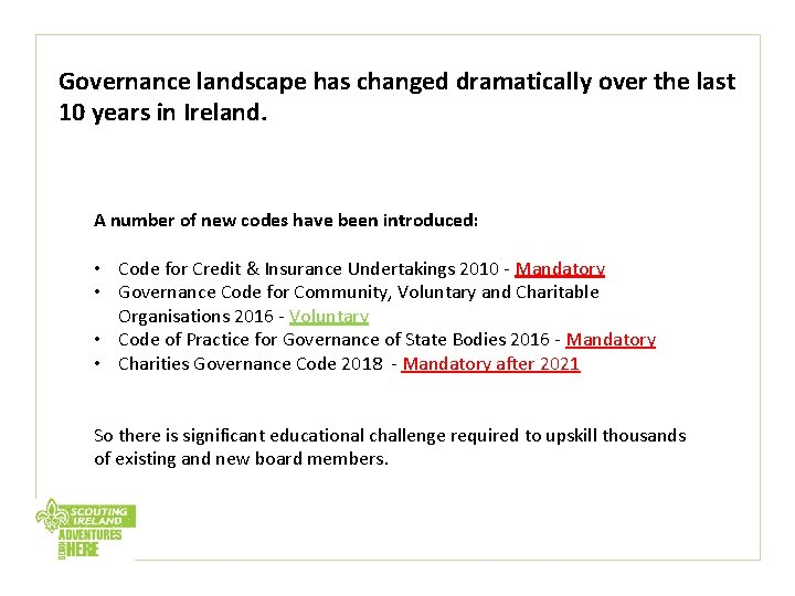 Governance landscape has changed dramatically over the last 10 years in Ireland. A number