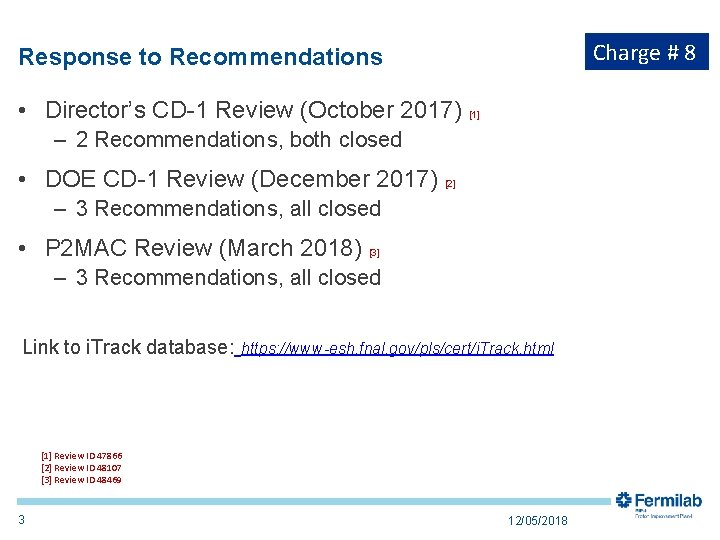 Charge # 8 Response to Recommendations • Director's CD-1 Review (October 2017) [1] –