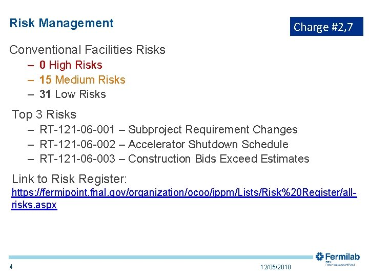 Risk Management Charge #2, 7 Conventional Facilities Risks – 0 High Risks – 15