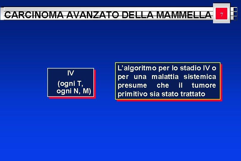 CARCINOMA AVANZATO DELLA MAMMELLA IV (ogni T, ogni N, M) L'algoritmo per lo stadio
