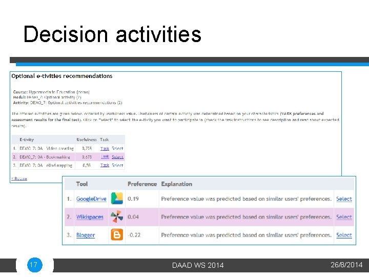 Decision activities 17 DAAD WS 2014 26/8/2014