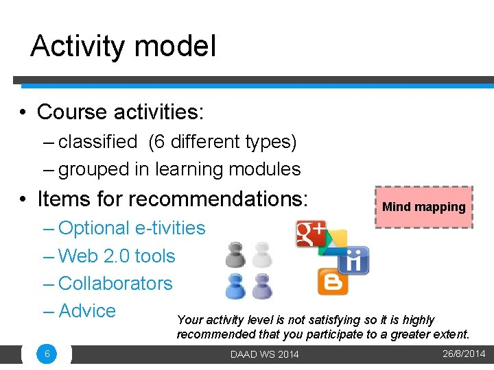 Activity model • Course activities: – classified (6 different types) – grouped in learning