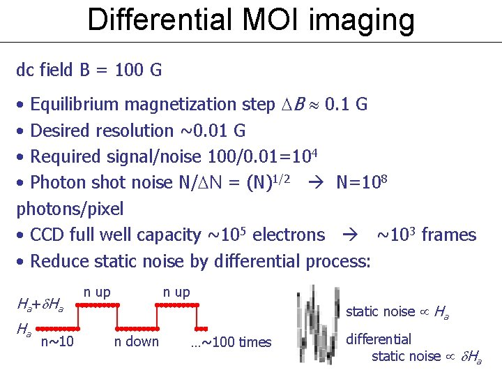 Differential MOI imaging dc field B = 100 G • Equilibrium magnetization step B