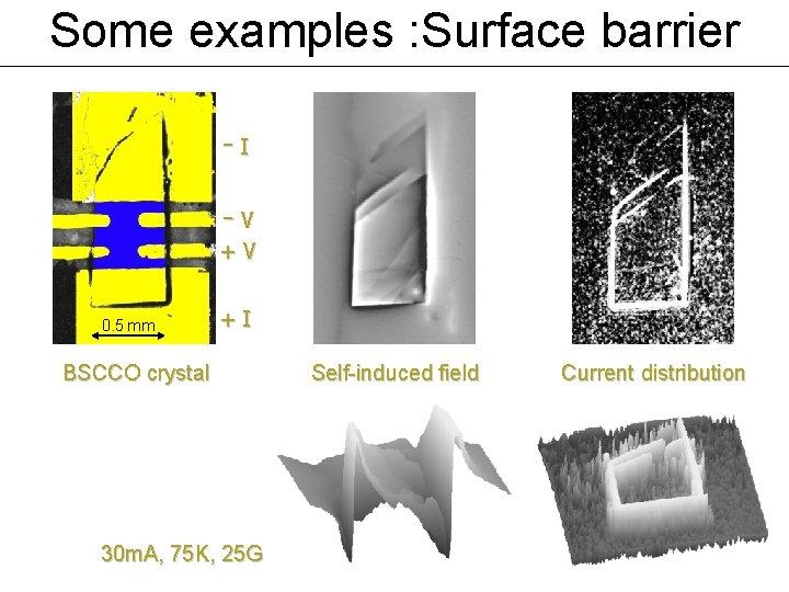 Some examples : Surface barrier -I -V +V 0. 5 mm +I BSCCO crystal