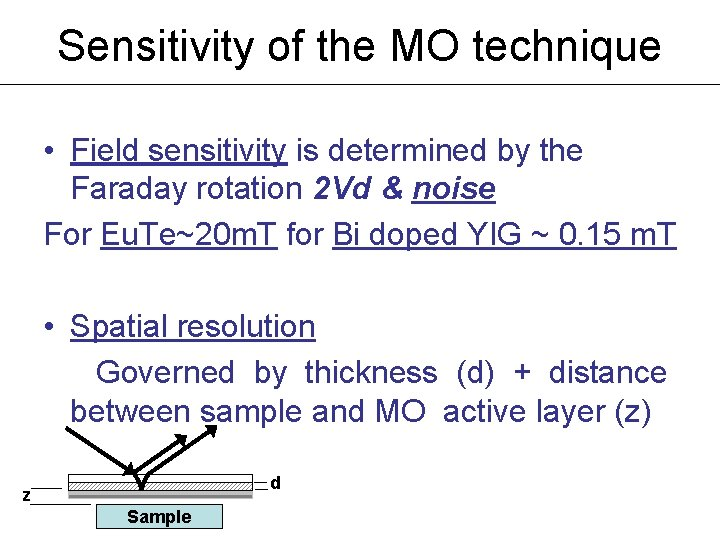 Sensitivity of the MO technique • Field sensitivity is determined by the Faraday rotation