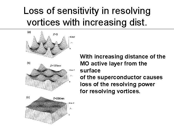 Loss of sensitivity in resolving vortices with increasing dist. With increasing distance of the