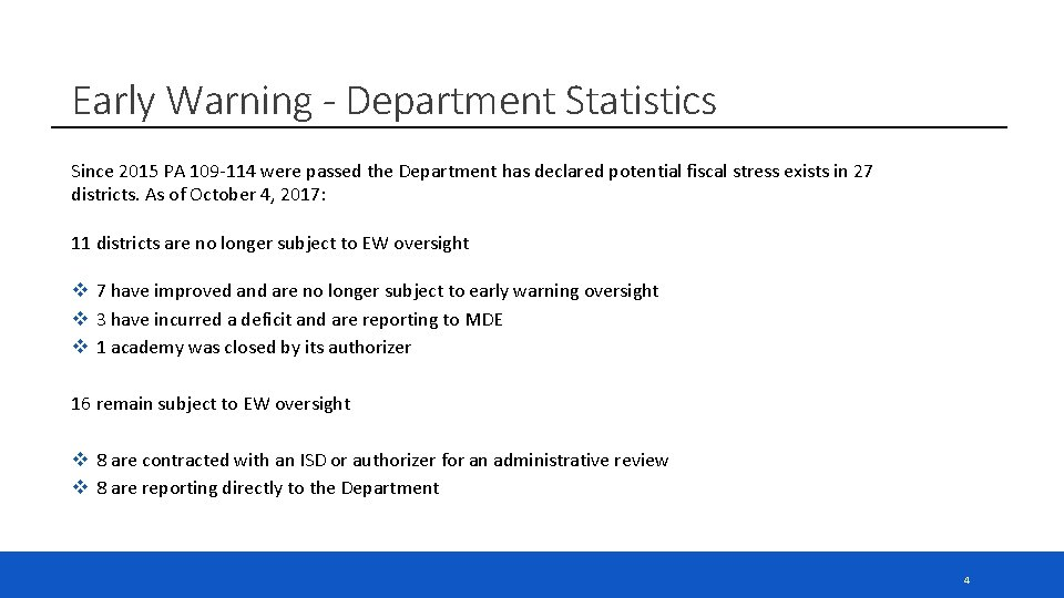 Early Warning - Department Statistics Since 2015 PA 109 -114 were passed the Department