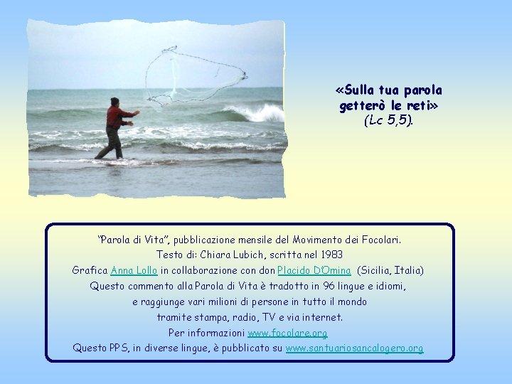 """«Sulla tua parola getterò le reti» (Lc 5, 5). """"Parola di Vita"""", pubblicazione"""