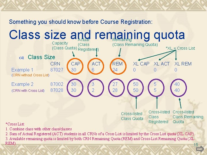 Something you should know before Course Registration: Class size and remaining quota Actual Capacity