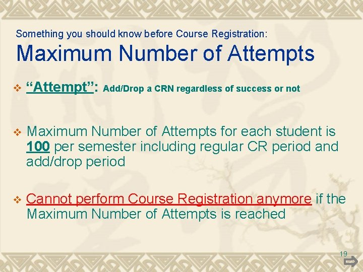 """Something you should know before Course Registration: Maximum Number of Attempts v """"Attempt"""": v"""