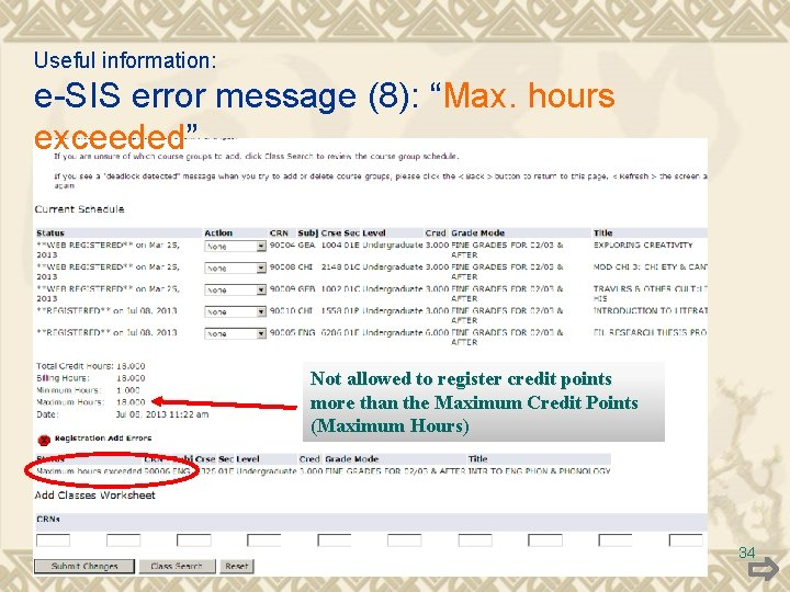 """Useful information: e-SIS error message (8): """"Max. hours exceeded"""" Not allowed to register credit"""