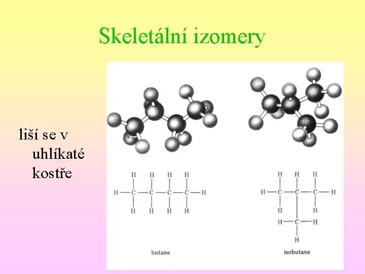 Skeletální izomery liší se v uhlíkaté kostře