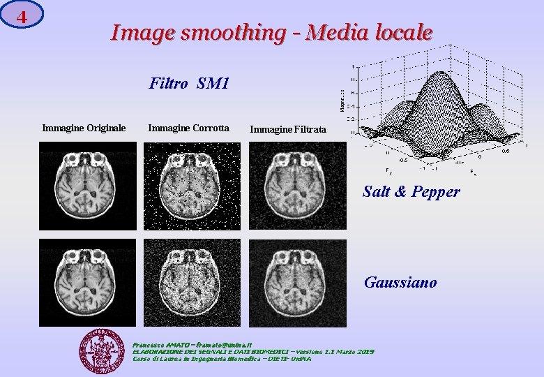4 Image smoothing - Media locale Filtro SM 1 Immagine Originale Immagine Corrotta Immagine