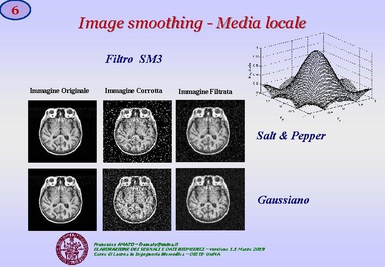 6 Image smoothing - Media locale Filtro SM 3 Immagine Originale Immagine Corrotta Immagine