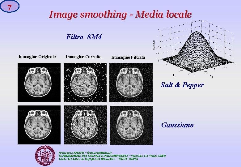 7 Image smoothing - Media locale Filtro SM 4 Immagine Originale Immagine Corrotta Immagine