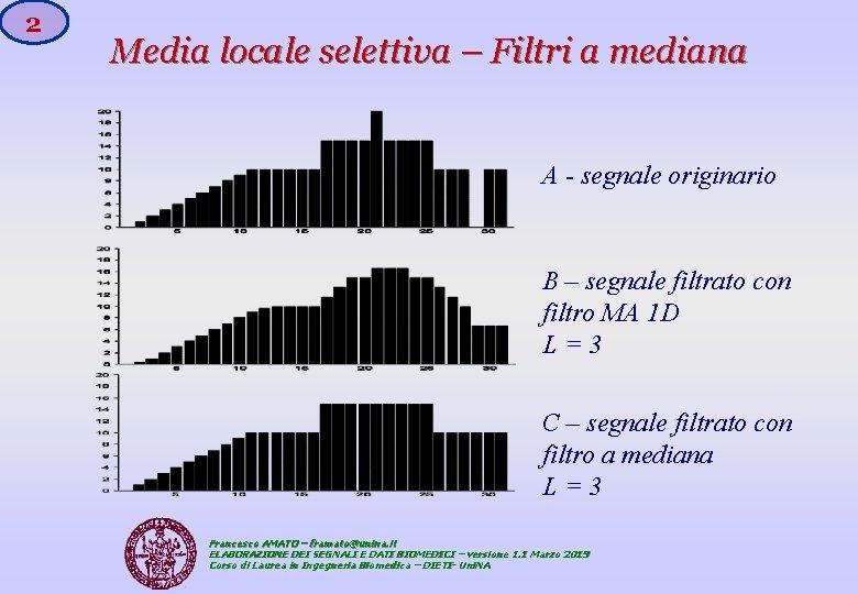 2 Media locale selettiva – Filtri a mediana A - segnale originario B –