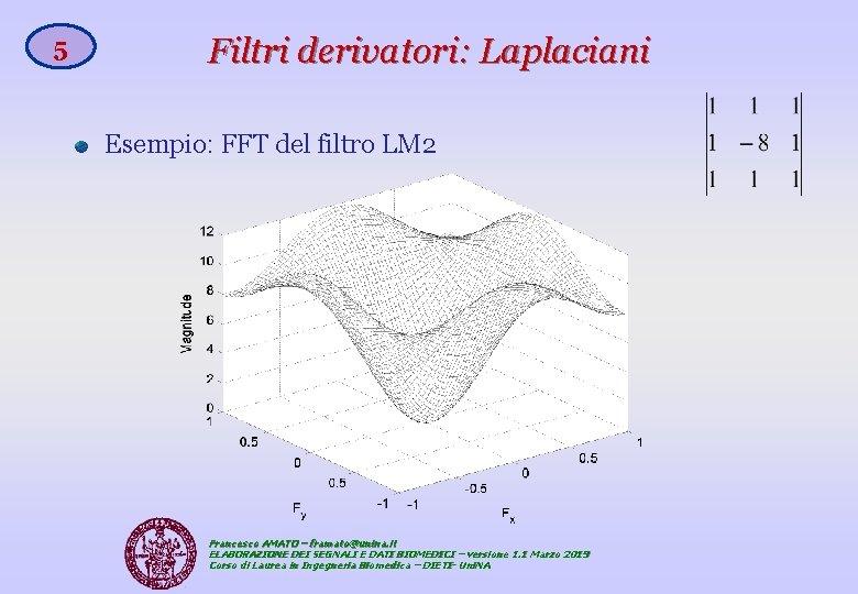 5 Filtri derivatori: Laplaciani Esempio: FFT del filtro LM 2 Francesco AMATO – framato@unina.