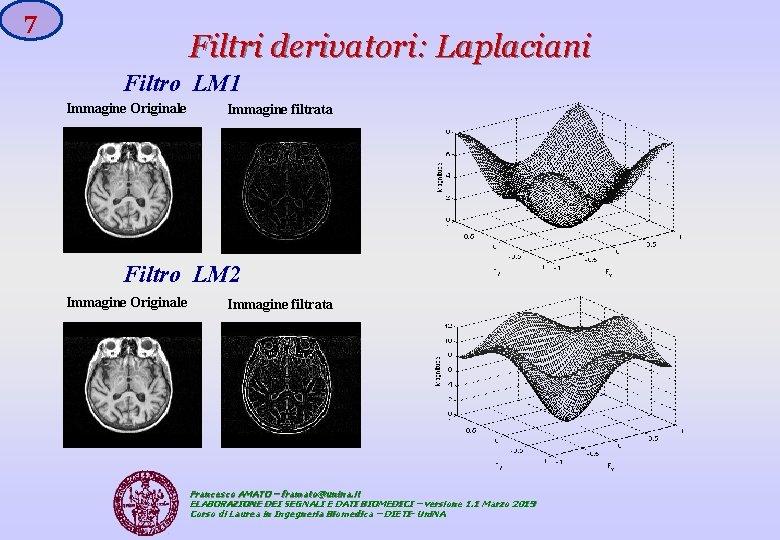 7 Filtri derivatori: Laplaciani Filtro LM 1 Immagine Originale Immagine filtrata Filtro LM 2