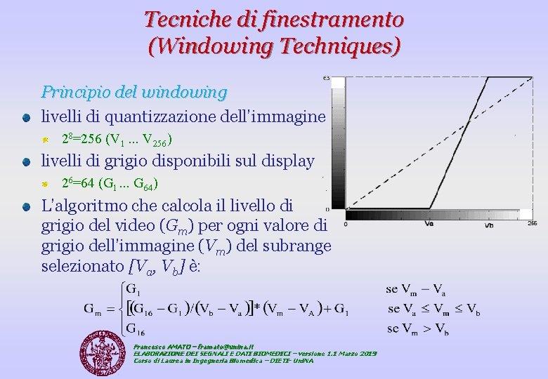 Tecniche di finestramento (Windowing Techniques) Principio del windowing livelli di quantizzazione dell'immagine 28=256 (V