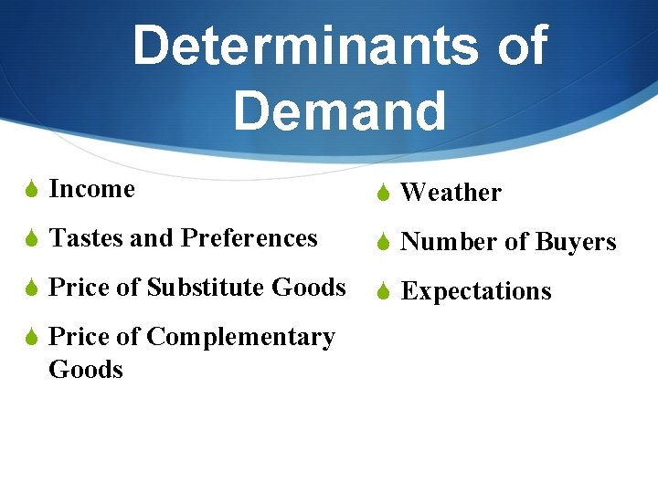 Determinants of Demand S Income S Weather S Tastes and Preferences S Number of