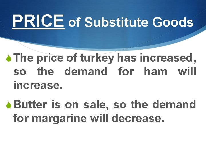 PRICE of Substitute Goods S The price of turkey has increased, so the demand