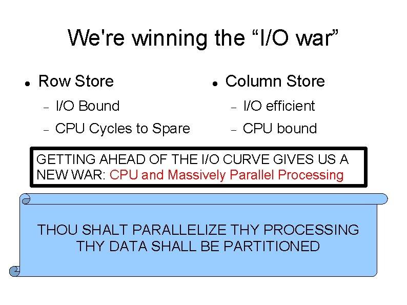 """We're winning the """"I/O war"""" Row Store Column Store I/O Bound I/O efficient CPU"""