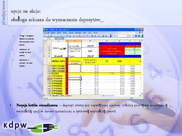 opcje na akcje: obsługa arkusza do wyznaczania depozytów_ • Uwaga: wymaganie depozytowe poprzez konwencję
