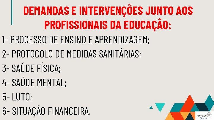 DEMANDAS E INTERVENÇÕES JUNTO AOS PROFISSIONAIS DA EDUCAÇÃO: 1 - PROCESSO DE ENSINO E