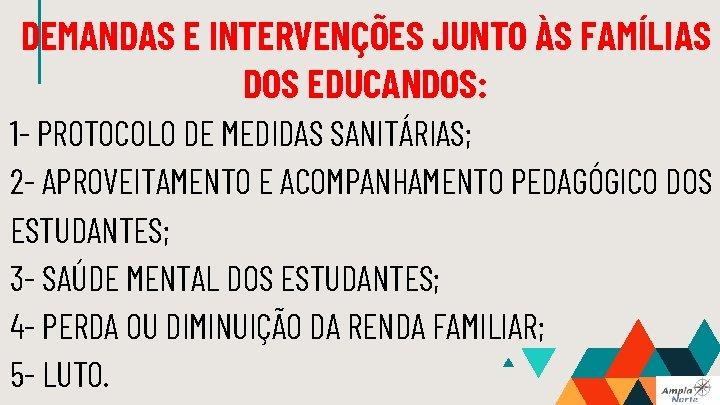 DEMANDAS E INTERVENÇÕES JUNTO ÀS FAMÍLIAS DOS EDUCANDOS: 1 - PROTOCOLO DE MEDIDAS SANITÁRIAS;