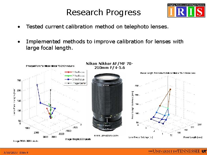 Research Progress • Tested current calibration method on telephoto lenses. • Implemented methods to