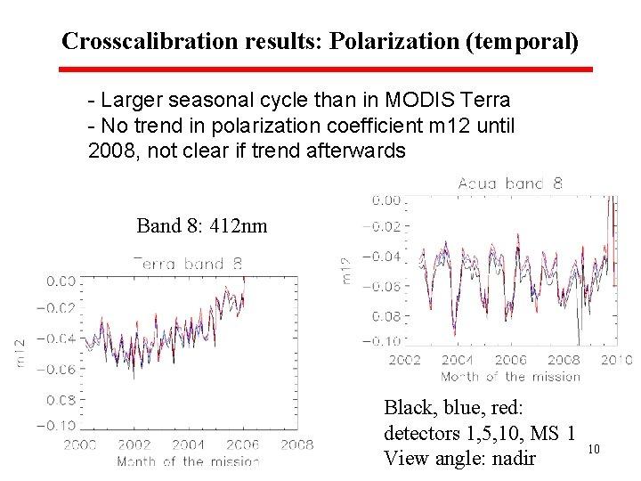 Crosscalibration results: Polarization (temporal) - Larger seasonal cycle than in MODIS Terra - No
