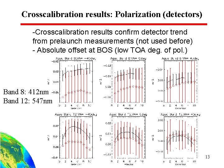 Crosscalibration results: Polarization (detectors) -Crosscalibration results confirm detector trend from prelaunch measurements (not used