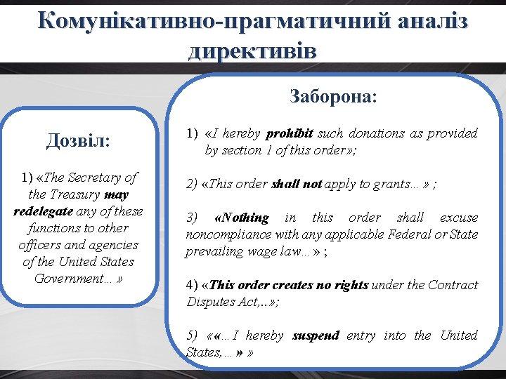 Комунікативно-прагматичний аналіз директивів Заборона: Дозвіл: 1) «The Secretary of the Treasury may redelegate any