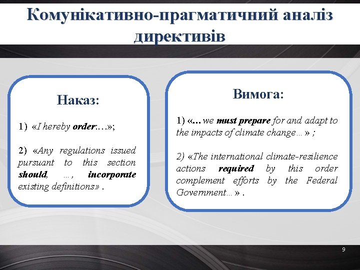 Комунікативно-прагматичний аналіз директивів Наказ: 1) «I hereby order: …» ; 2) «Any regulations issued