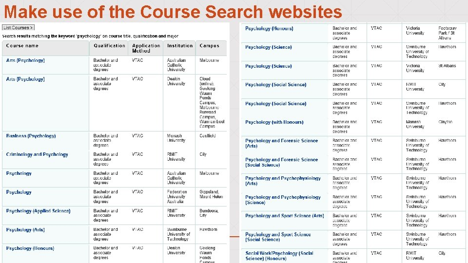 Make use of the Course Search websites