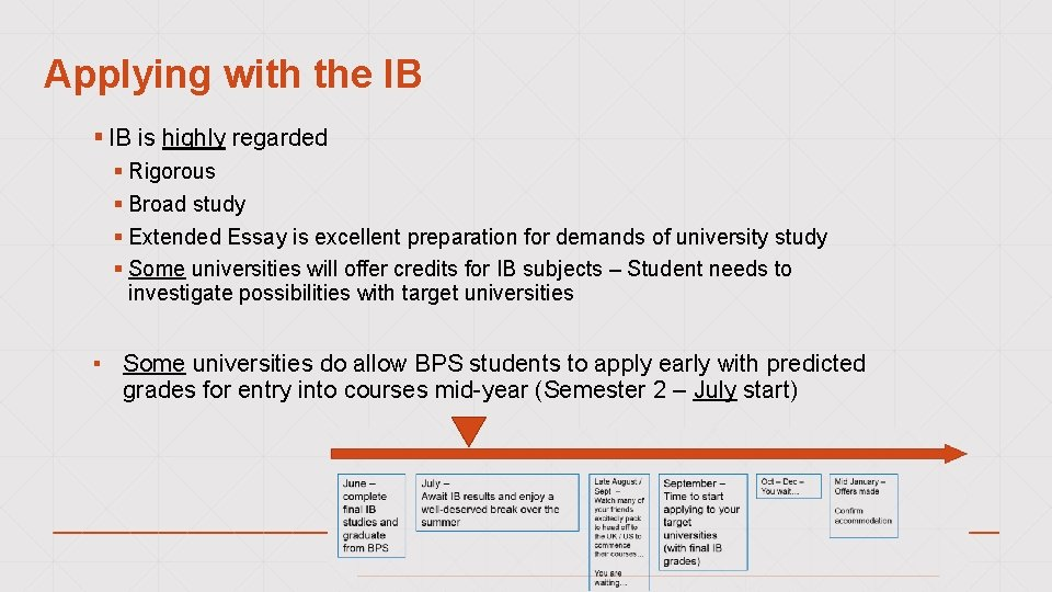 Applying with the IB § IB is highly regarded § Rigorous § Broad study