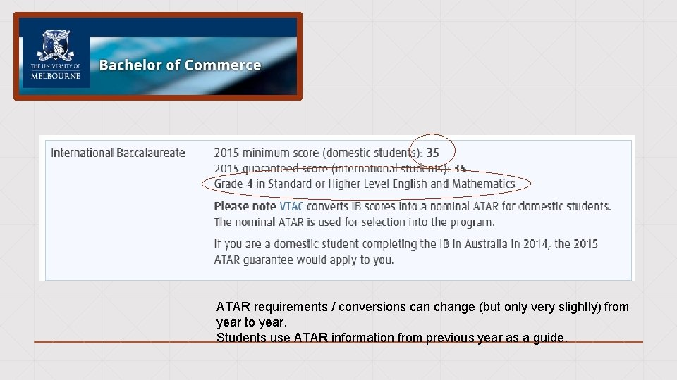 ATAR requirements / conversions can change (but only very slightly) from year to year.