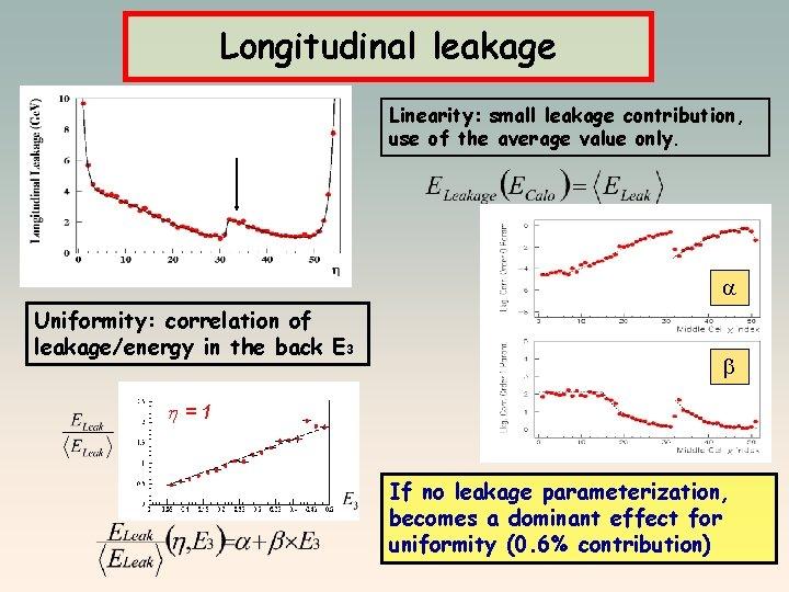 Longitudinal leakage Linearity: small leakage contribution, use of the average value only. a Uniformity: